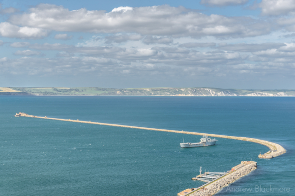 Portland-the-breakwater-and-RFA-Sir-Tristram-from-East-Weare-cliffs-31_05_15-1