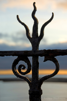 Railing-detail-at-twilight-the-Bell-Cliff,-Lyme-Regis-16_11_08