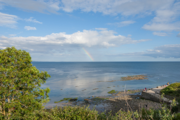 Sea-view-at-low-tide-and-prism-ray-from-Natalies-garden-(46-Church-Street,-Lyme-Regis)-28_07_12