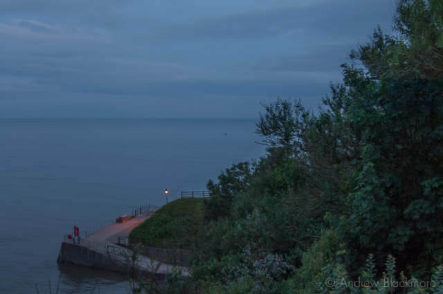 Sea-view-at-twilight-from-Natalies-garden-46-Church-Street,-Lyme-Regis-08_07_12-2