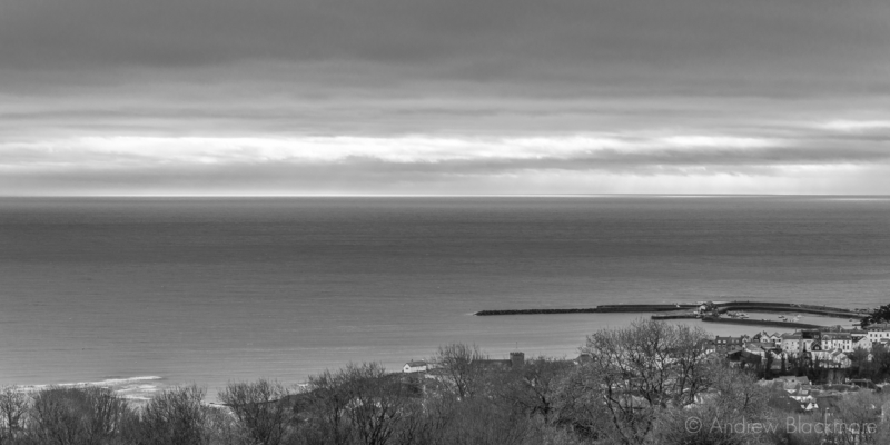 Sea-view-with-the-Cobb-from-The-Spittles,-Lyme-Regis-31_01_16-pan-b&w