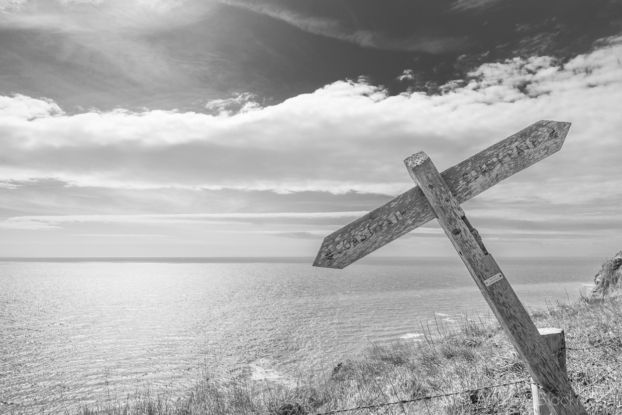 Sign-post-at-Hope-Corner-on-the-SW-Coast-Path-nr.-Thorncombe-Beacon-12_04_15-2-b&w