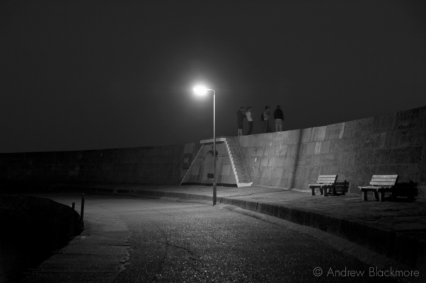 The-Cobb-wall-and-streetlight-at-twilight-29_3_12-1-b&w