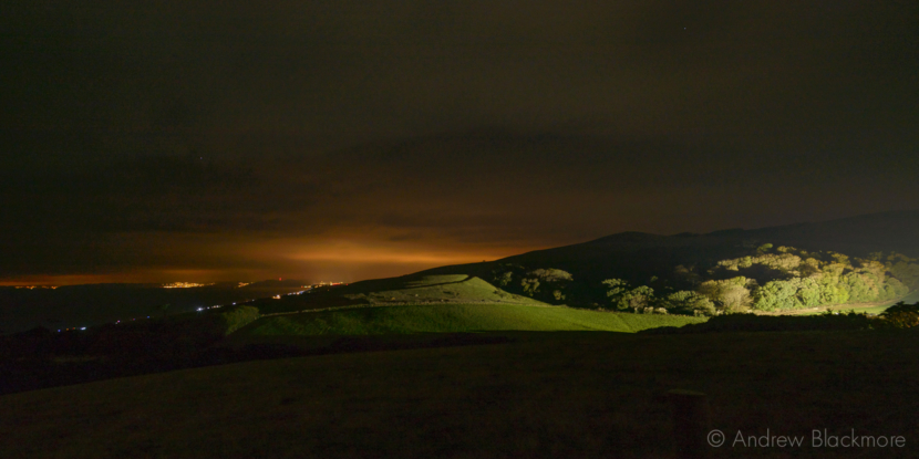 View-west-after-dark-from-above-Stavordale-Wood Abbotsbury-29_10_16-2-pan