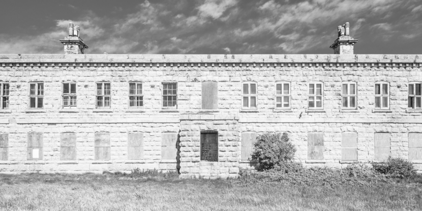 Portland-prison-officers-building-at-The-Verne-31_05_15-1-pan-b&w