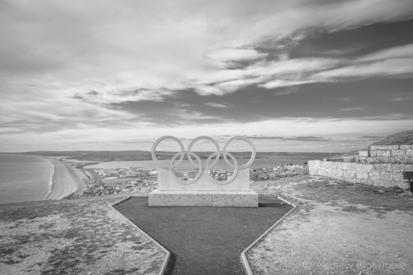 Portland-the-Olympic-rings-on-the-top-of-New-Road-19_04_15-b&w