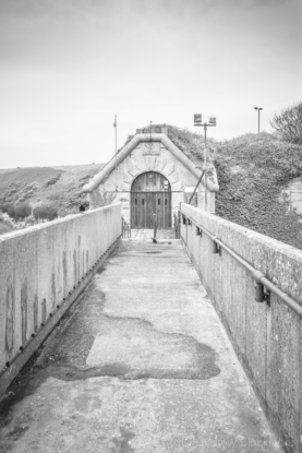 Portland-the-Verne-Citadel-south-entrance-over-moat-26_04_15-1-b&w