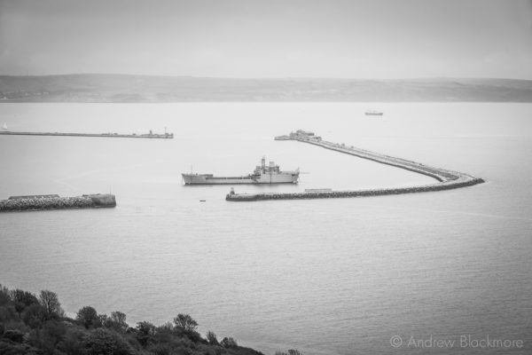 Portland-the-breakwater-and-RFA-Sir-Tristram-from-top-of-Incline-Road,-East-Weare-10_05_15-b&w