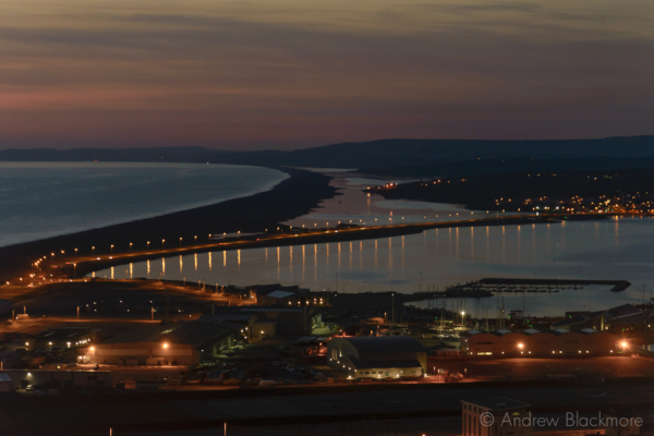 Portland-the-causeway-and-harbour-at-sunset-from-Verne-Common-Road-22_03_15
