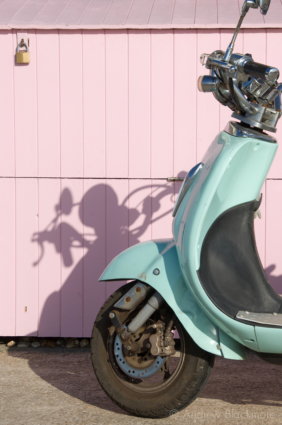 Scooter-and-painted-storage-boxes-Lyme-Regis-seafront-09_10_11
