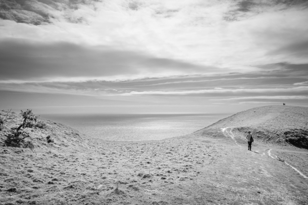 Sea-view-with-Natalie-from-the-SW-Coast-Path-on-Doghouse-Hill-12_04_15-b&w