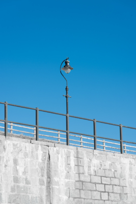 Street-lamp-above-Church-Cliff-Beach,-Lyme-Regis-27_10_12-abstract