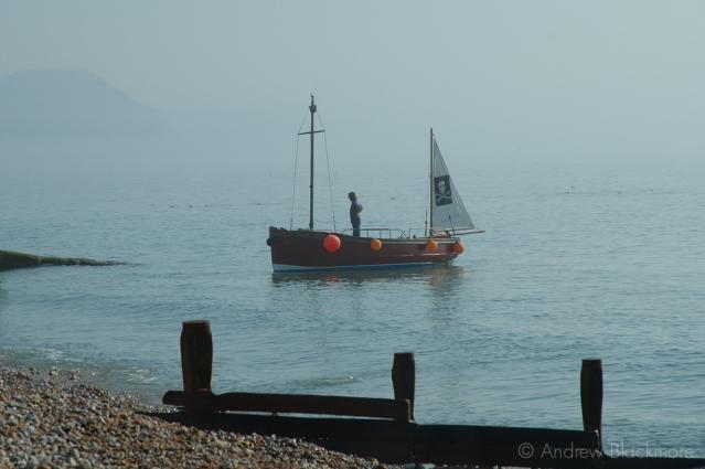 Sunbeam-Too-(Pirate-boat)-off-Cobb-Gate-Beach,-Lyme-Regis-no.2-19_03_05