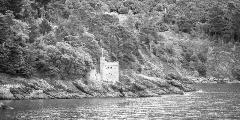 Kingswear Castle From Dartmouth Castle 07_08_15 2 Pan B&w